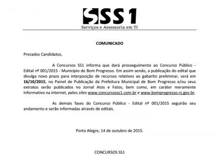 PROSSEGUIMENTO AO CONCURSO PÚBLICO 001/2015